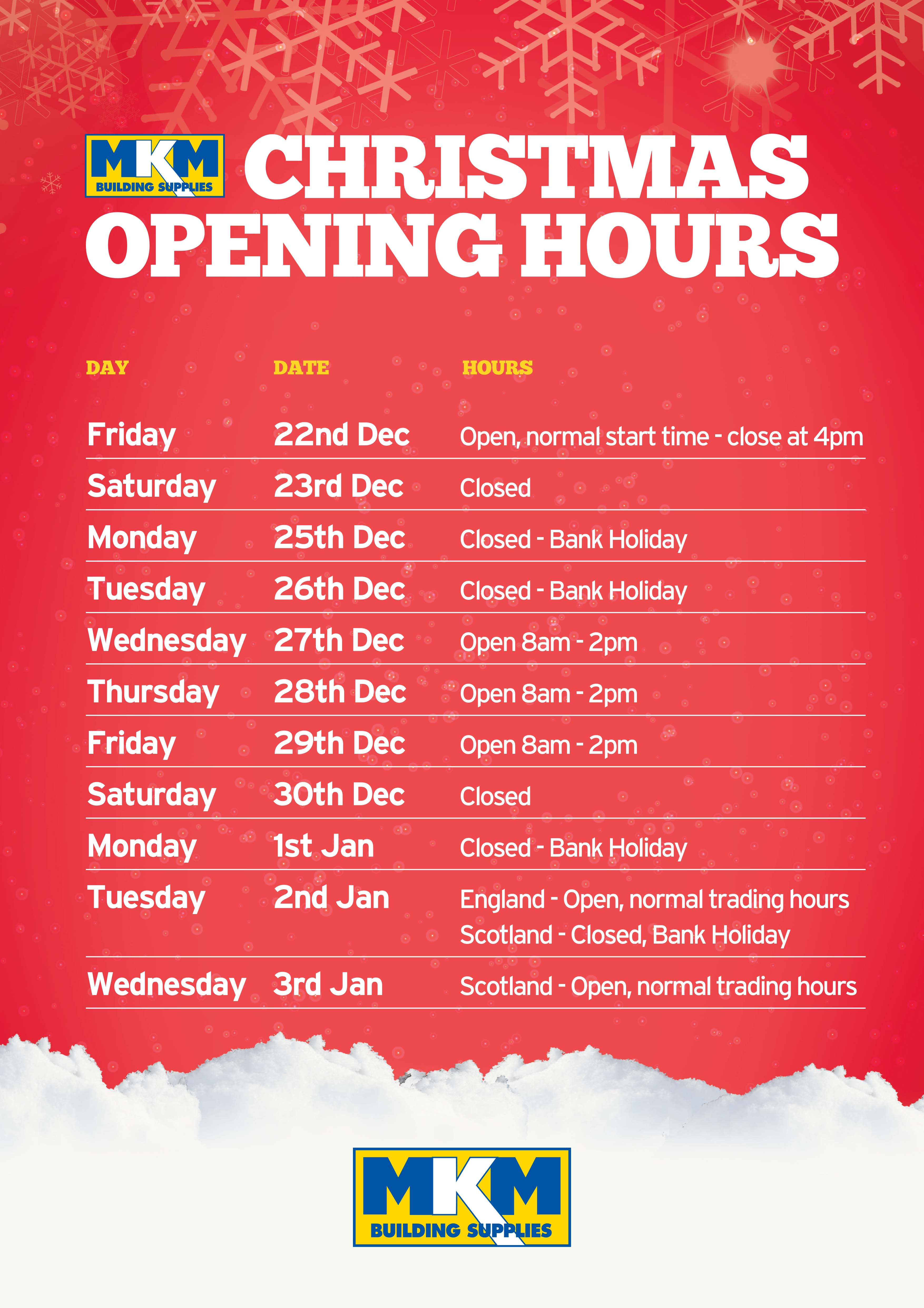 Christmas Opening Hours Poster 2017