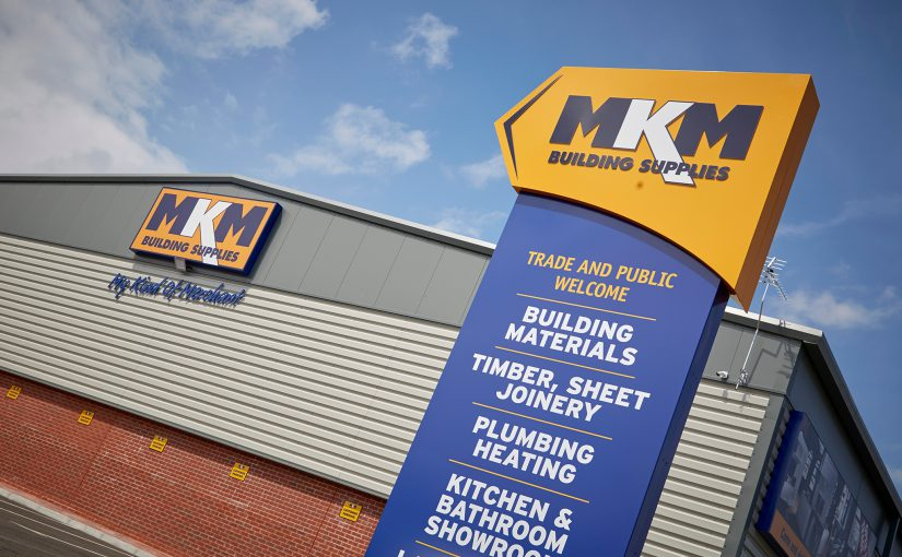 MKM signage in front of builders merchant branch in Birkenhead
